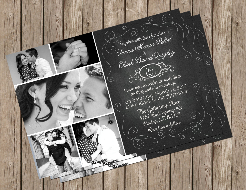 chalkboard photo wedding invitation
