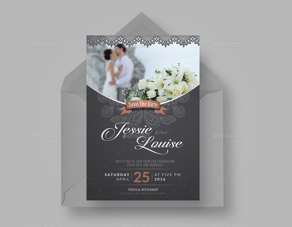 chalkboard traditional wedding invitation