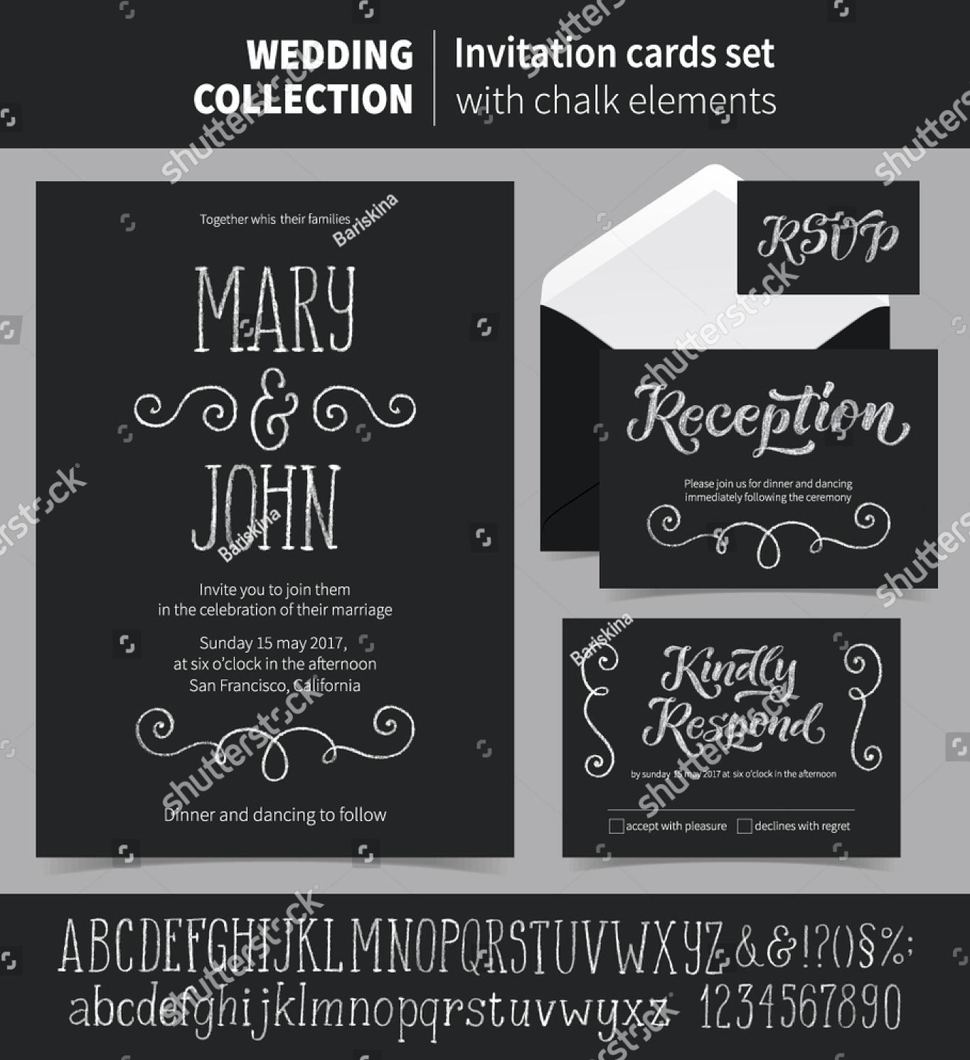 chalkboard wedding reception invitation