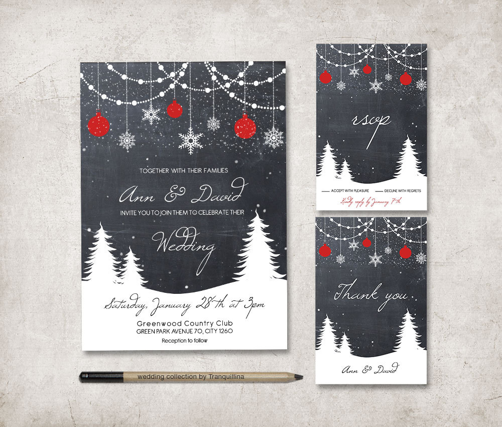 chalkboard winter wedding invitation