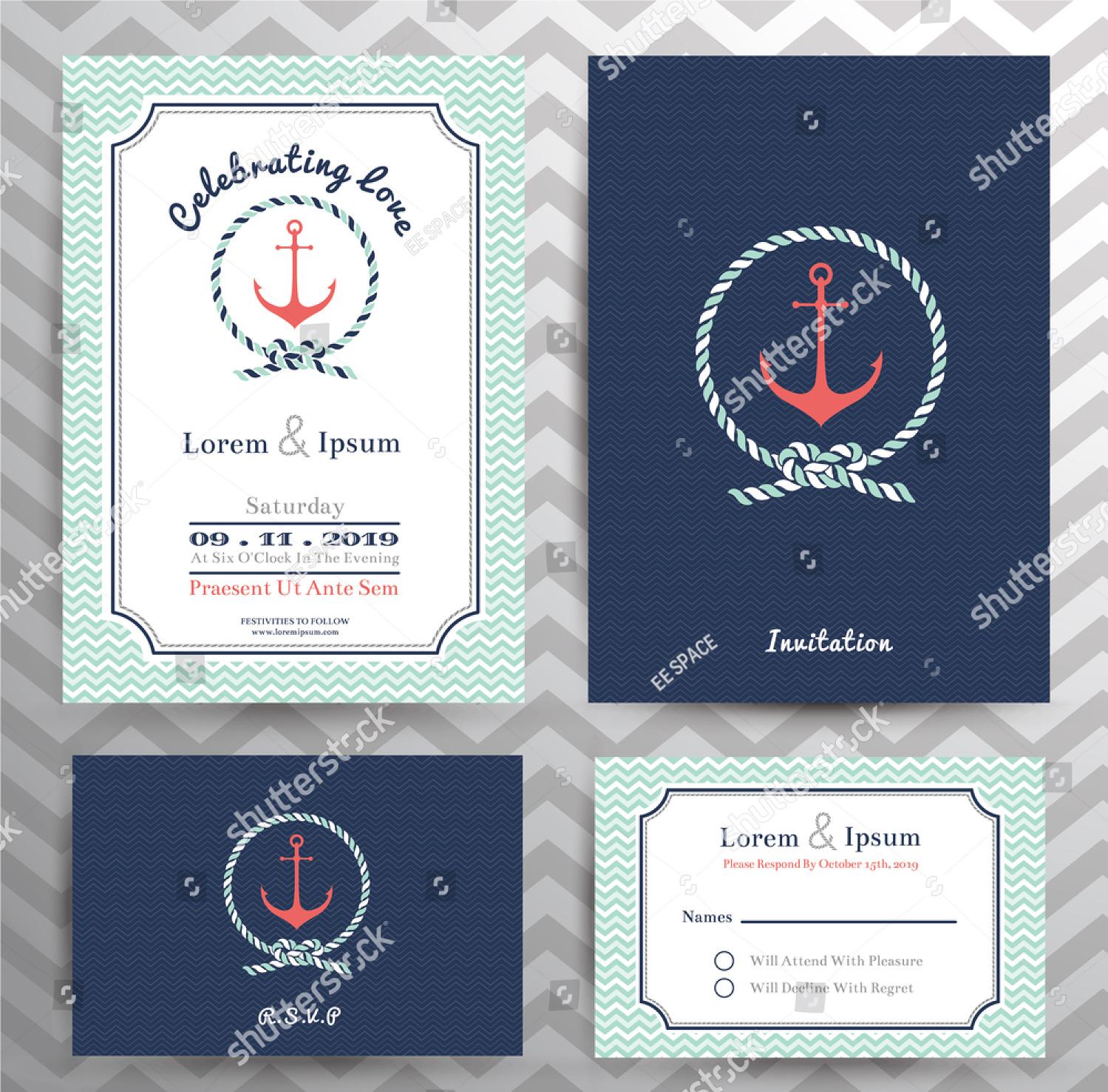 chevron nautical wedding invitation