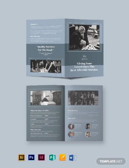 christian funeral service bi fold brochure template