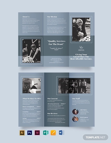 christian funeral service tri fold brochure template