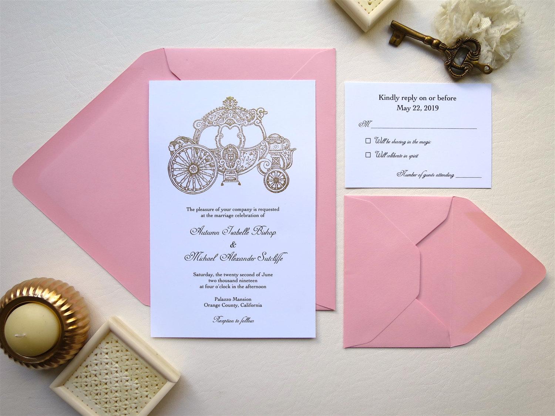cindrella carriage wedding invitation