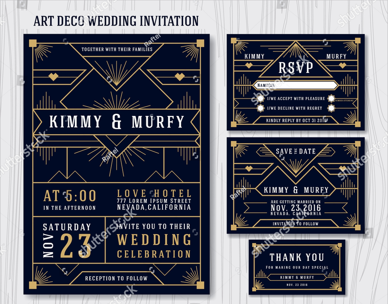 classic art deco vintage wedding invitation