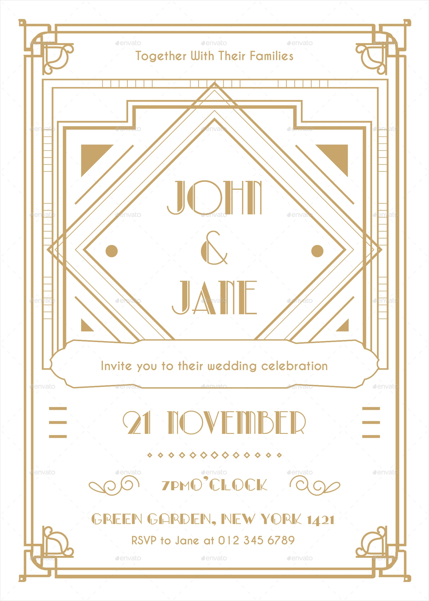 Art Deco Wedding Invitations.16 Art Deco Wedding Invitation Designs And Examples Psd