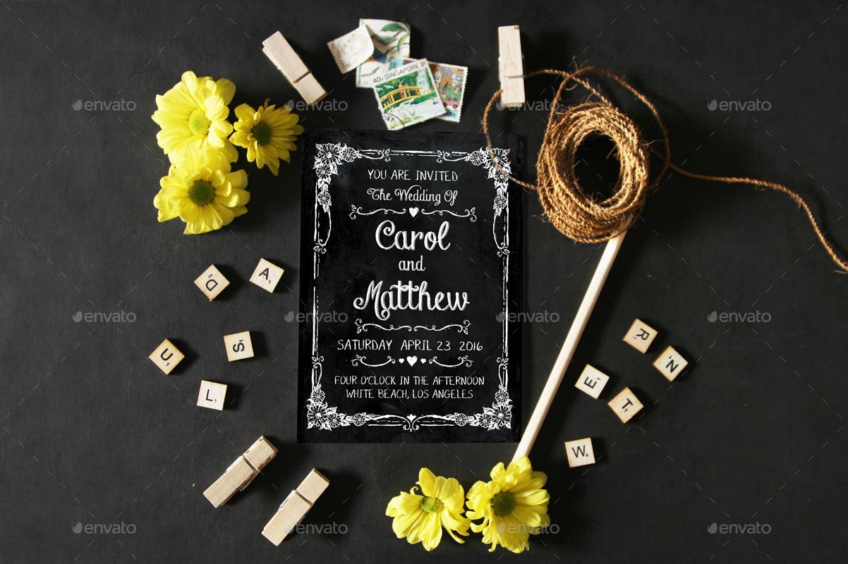 classic chalkboard wedding invitation
