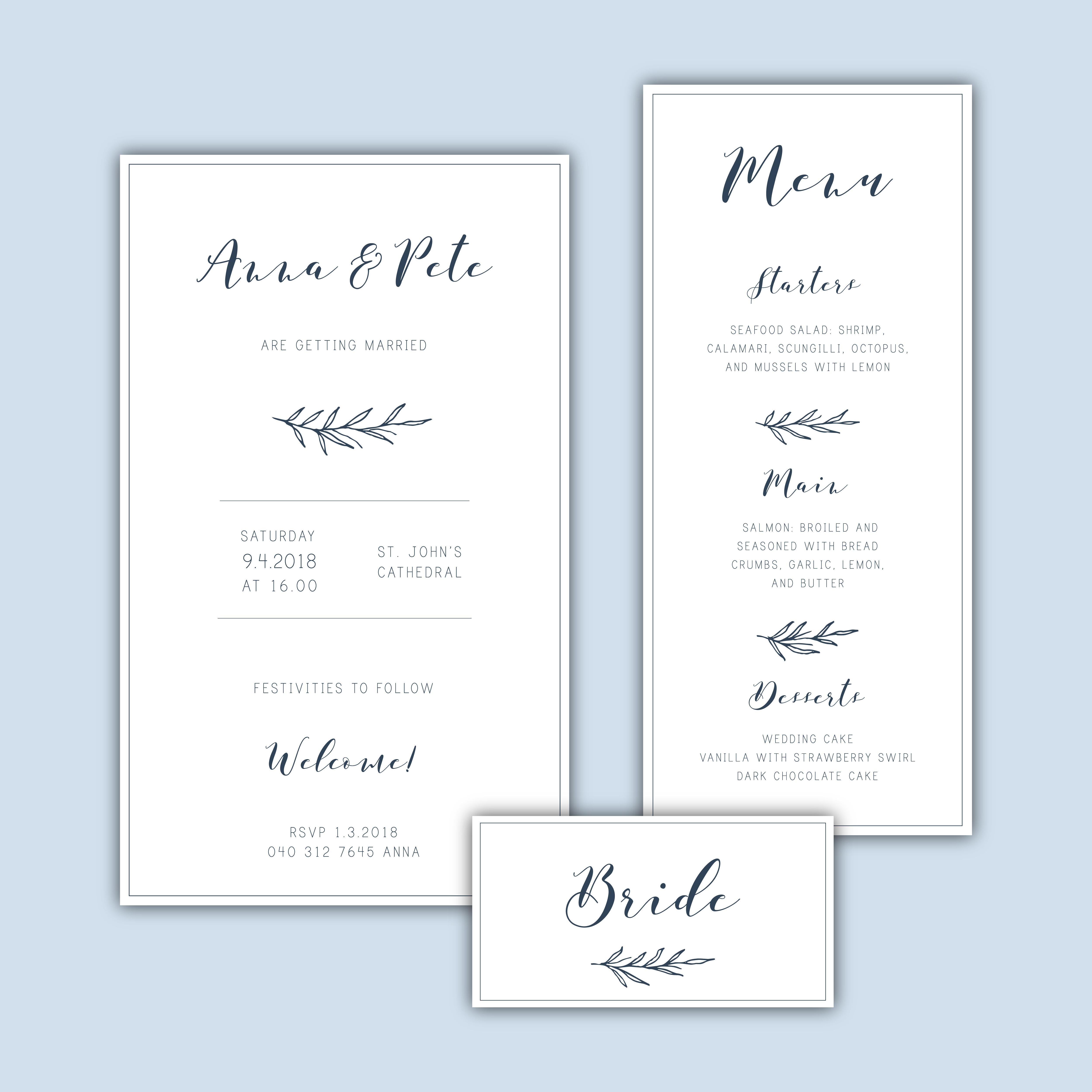 classic minimalist wedding invitation