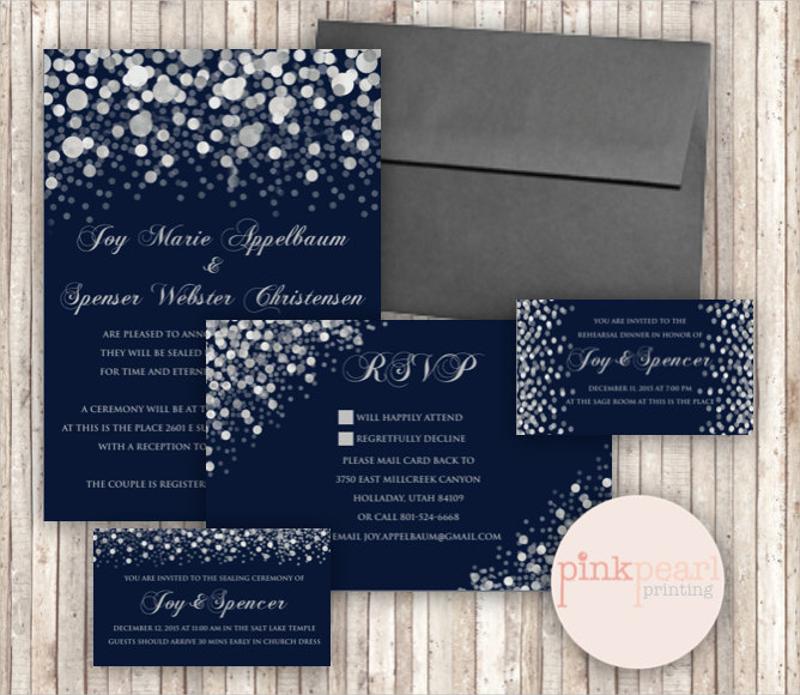 classic snow or light wedding invitation