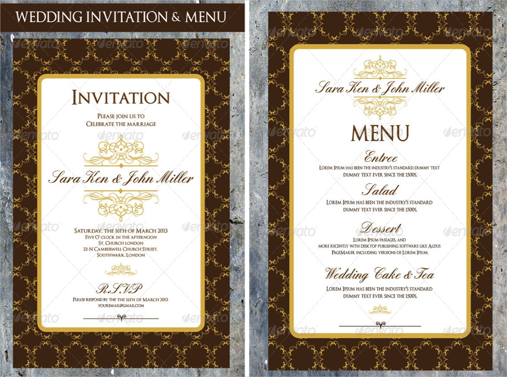 classic wedding menu