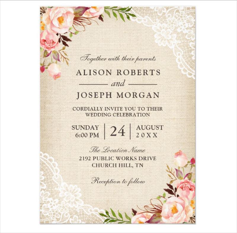 classy floral lace burlap wedding invitation