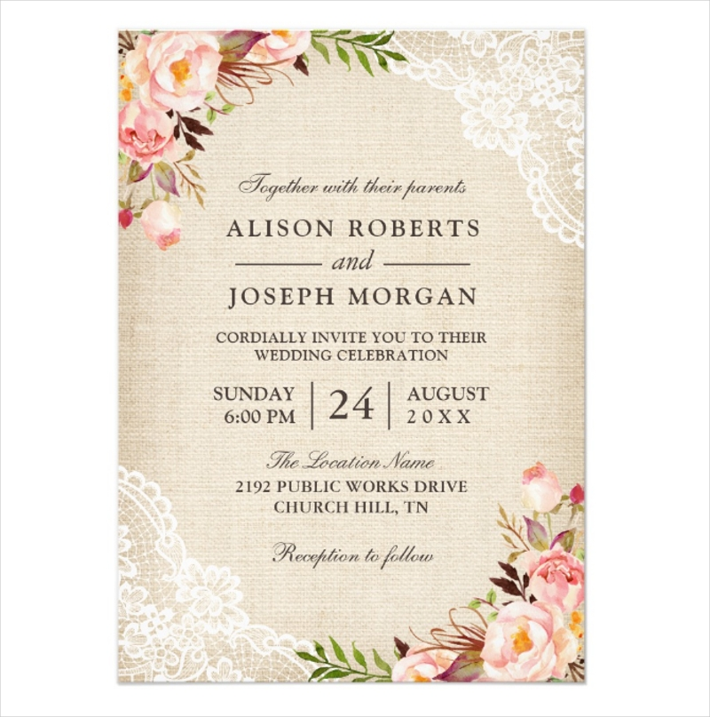classy floral lace burlap wedding