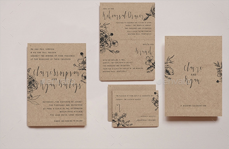 classy floral wedding invitation