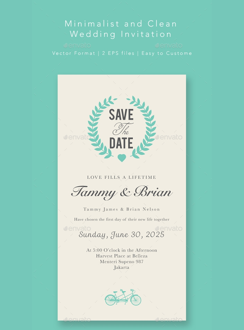 clean minimalist wedding invitation