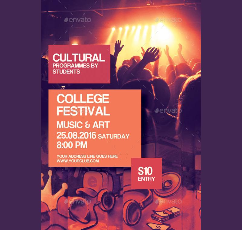 college music festival flyer invitation