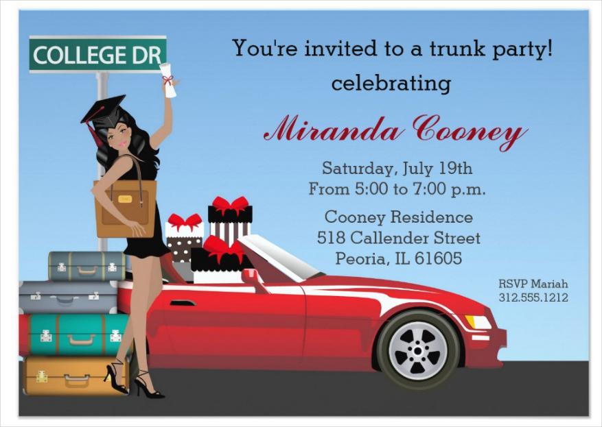 college trunk party invitation