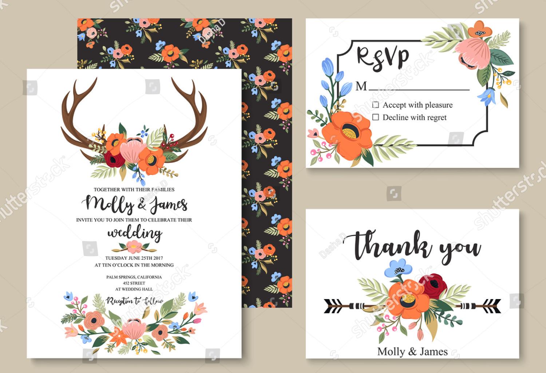 colorful bohemian wedding invitation