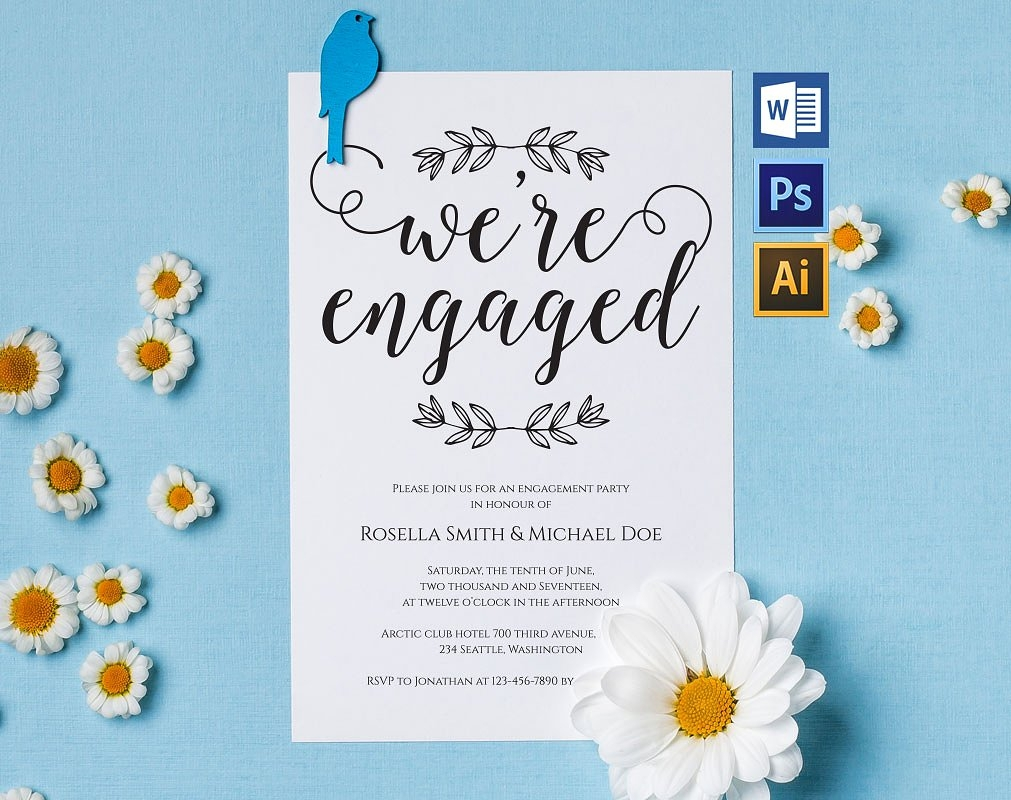 colorful engagement party invitation