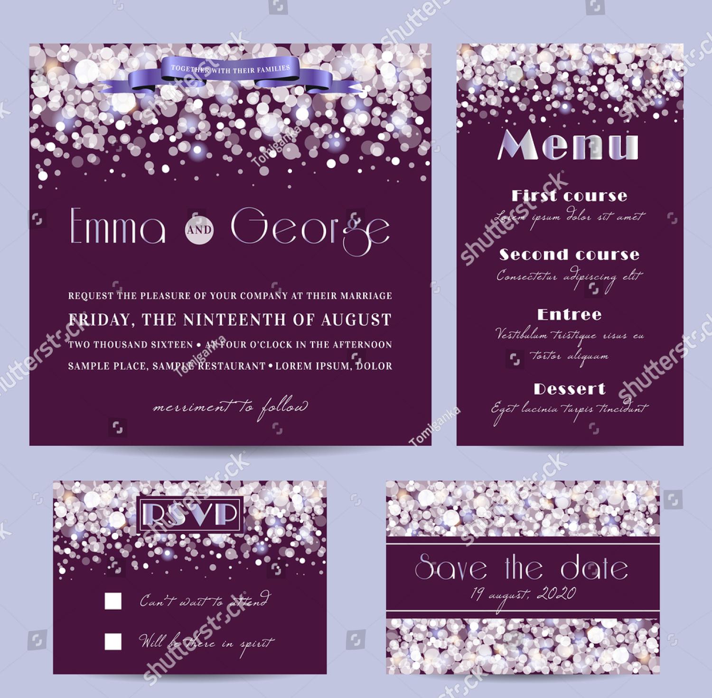 confetti snow wedding invitation