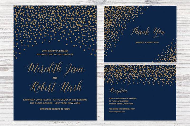 confetti wedding reception invitation