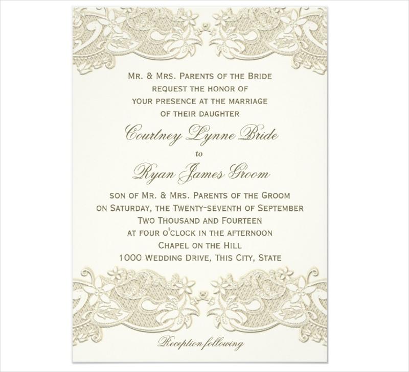 country floral vintage lace design wedding invitation