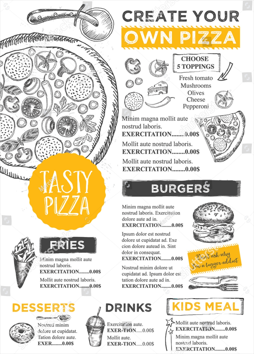 creative pizza menu template