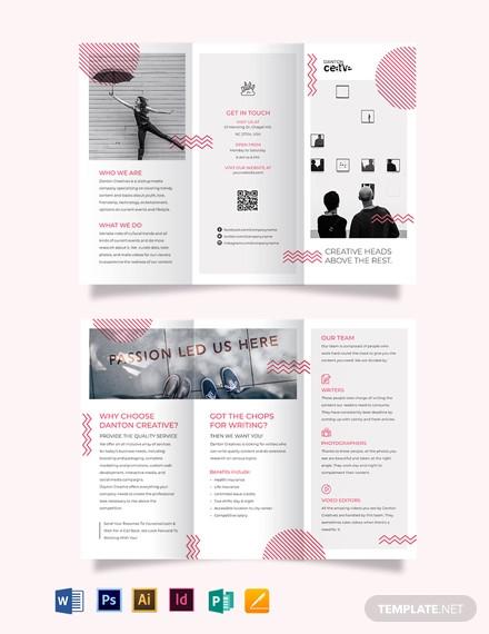 creative recruitment tri fold brochure template