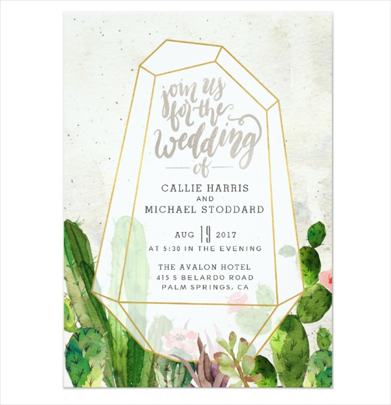 desert succulent wedding invitation