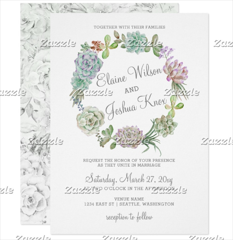 desert succulent wreath wedding invitation