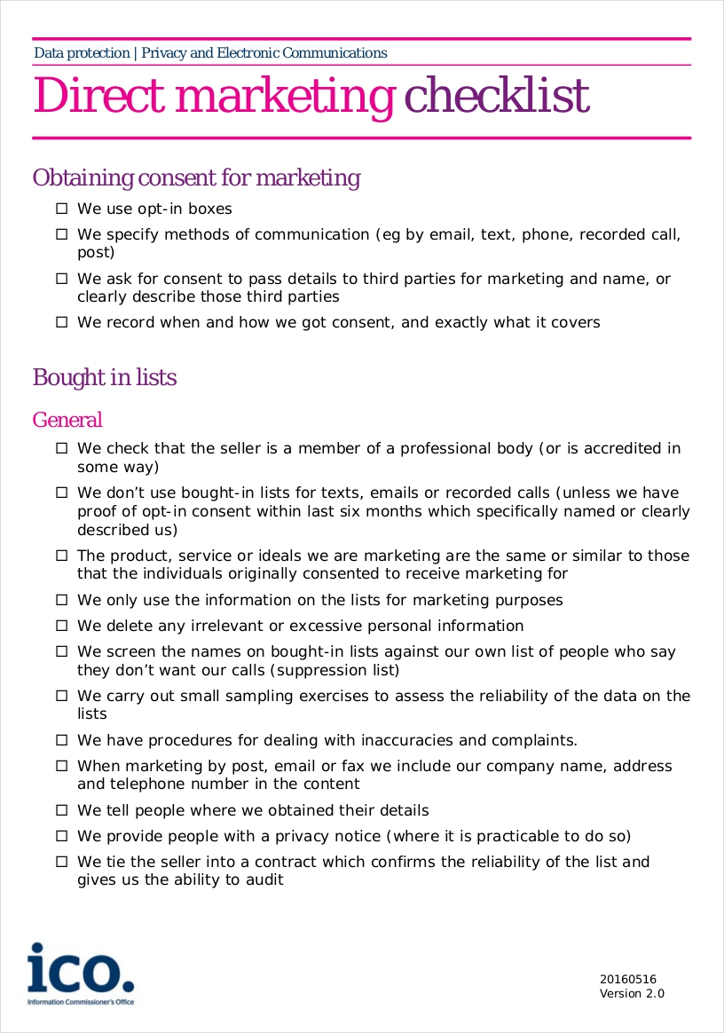 direct marketing checklist1