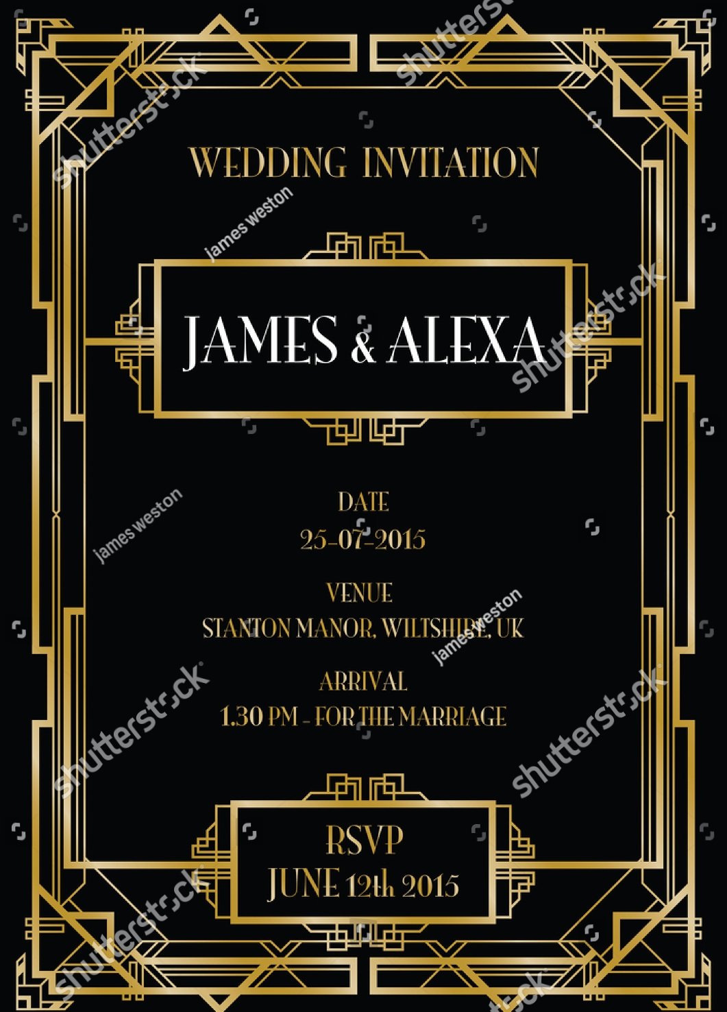 15 Art Deco Wedding Invitation Designs and Examples PSD AI