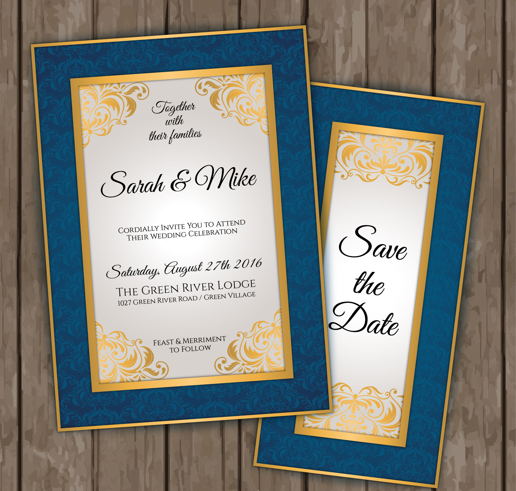 elegant blue and gold wedding invitation