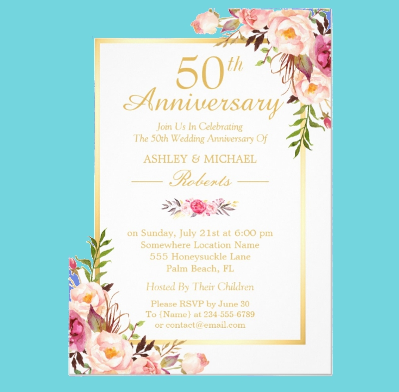 elegant chic gold floral 50th wedding anniversary1
