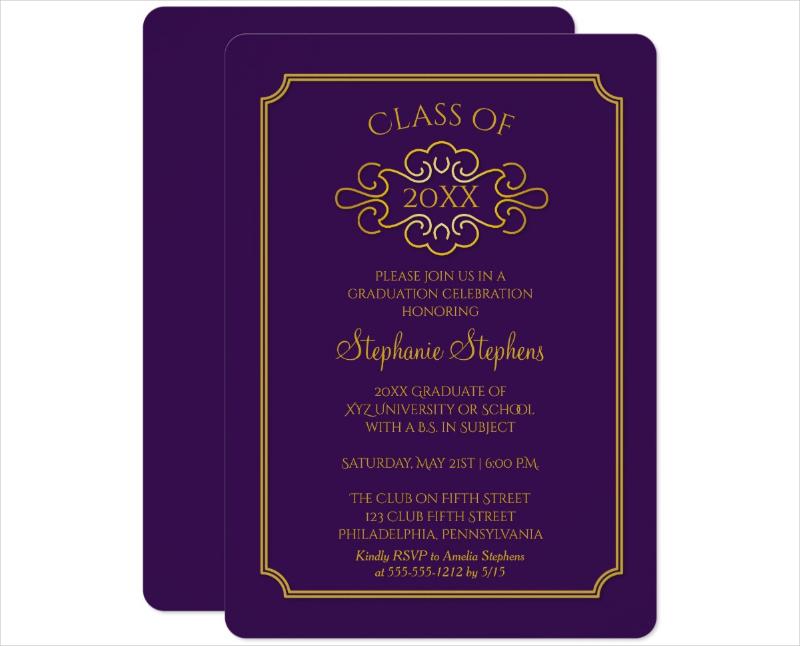 elegant college graduation party card