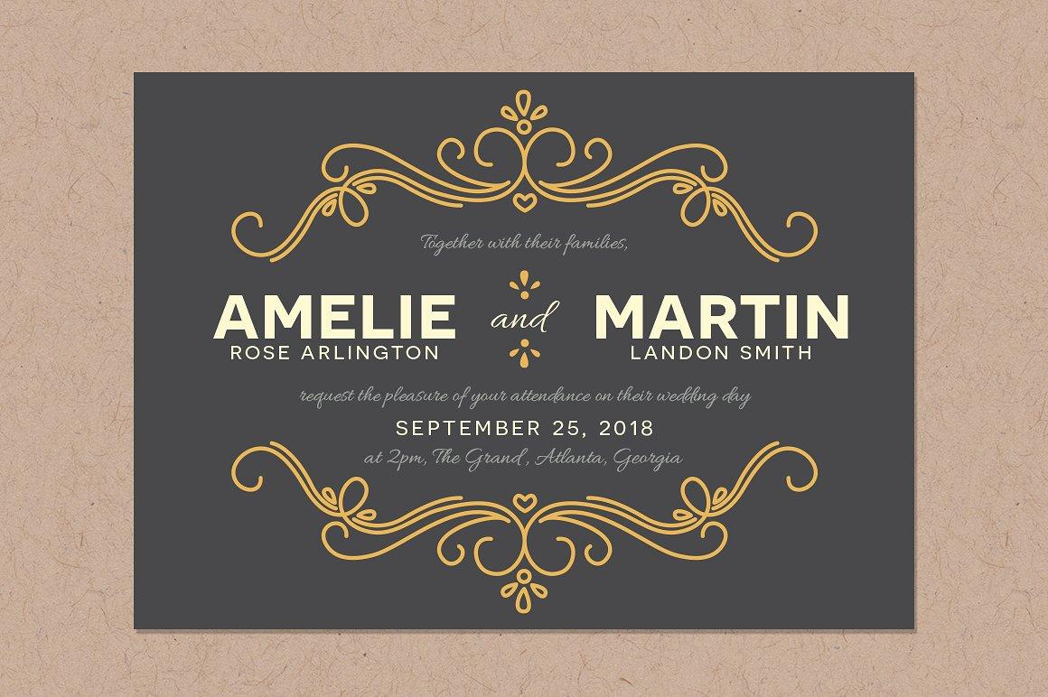 elegant fairytale wedding invitation