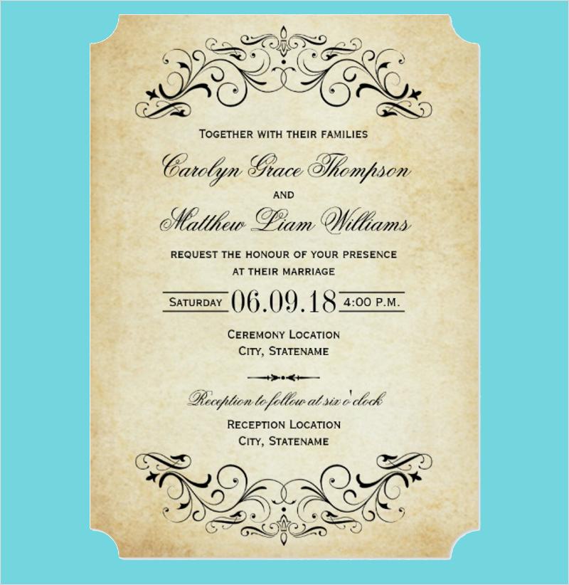 elegant flourish vintage wedding invitation