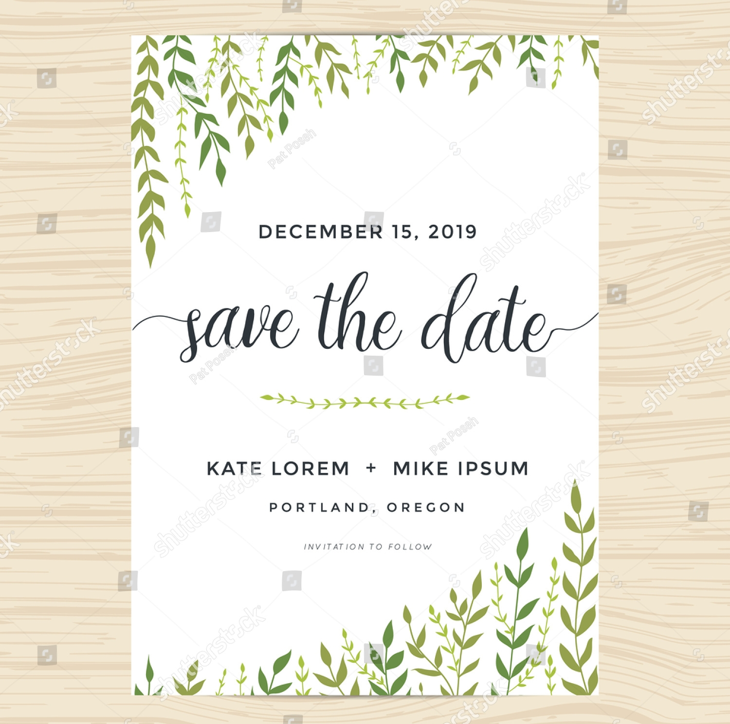 elegant garden leafs wedding invitation