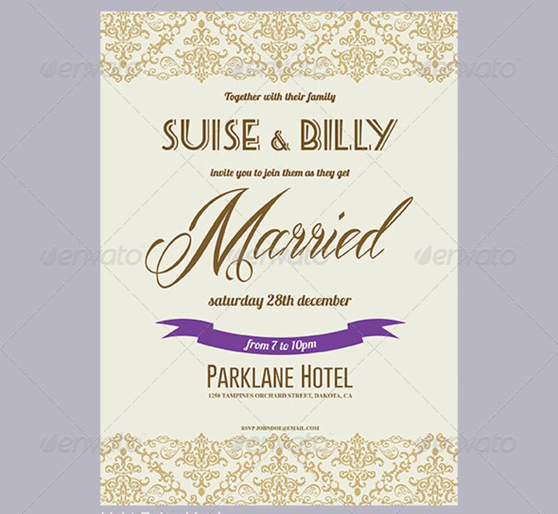 elegant lace design wedding invitation