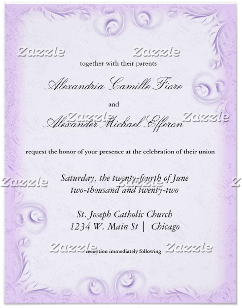 elegant lilac scrollwork formal wedding invitation