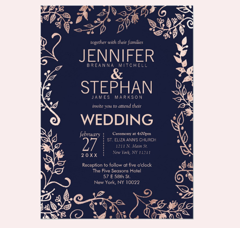 elegant navy blue rose gold floral wedding invitation