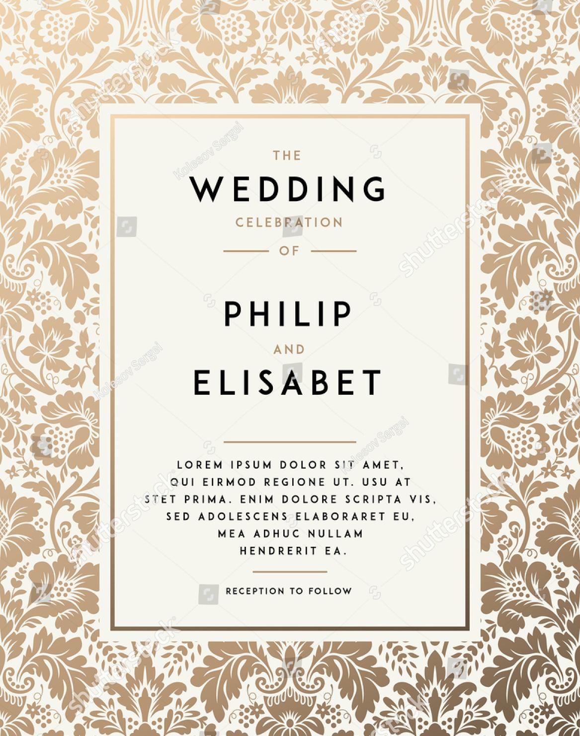 elegant vintage wedding invitation1