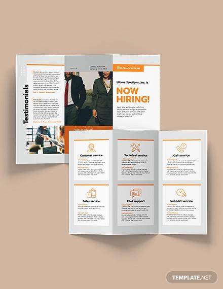 employee recruitment tri fold brochure template