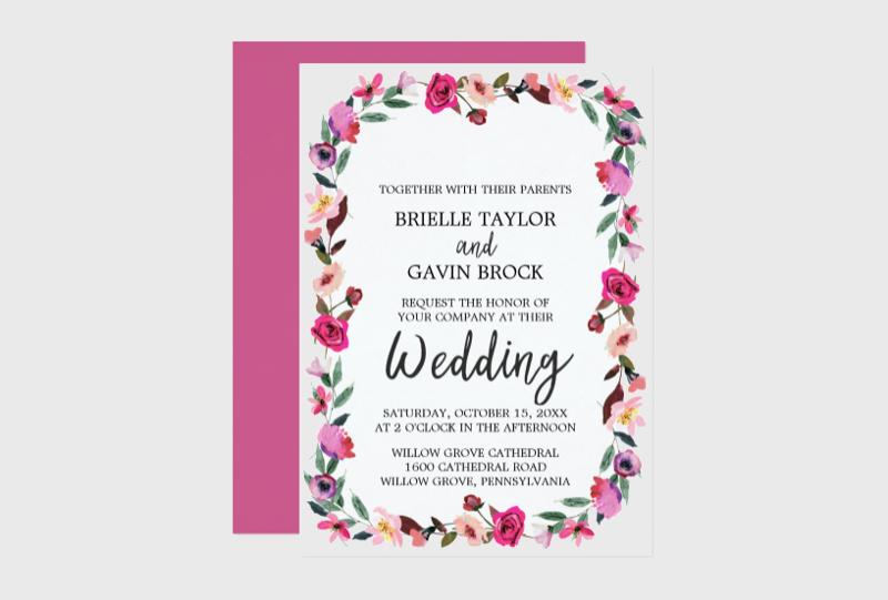 fairytale blossom wreath wedding invitation