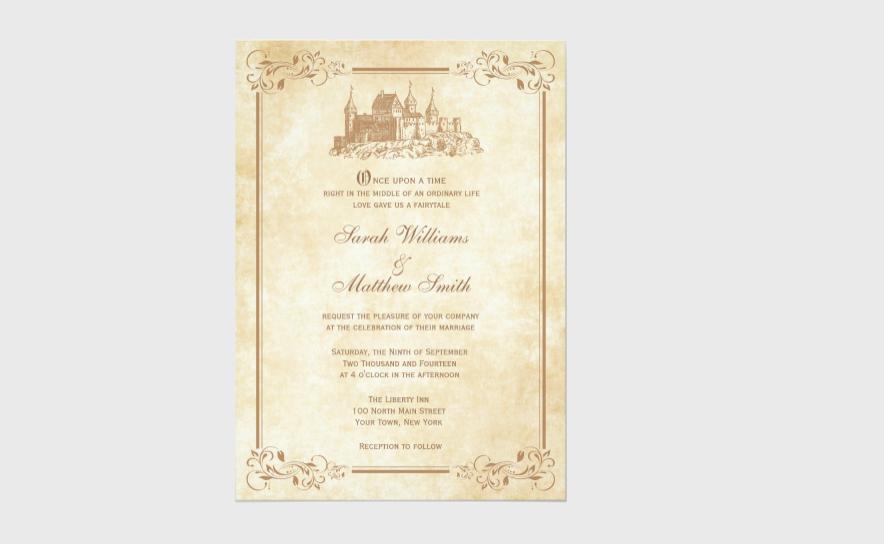 fairytale castle wedding invitation
