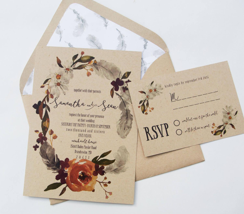 fall boho wedding invitation