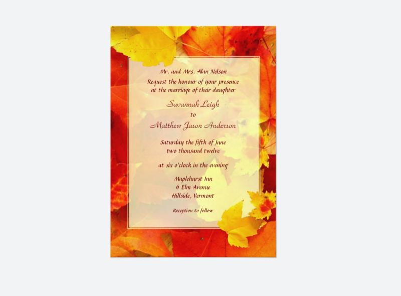 fall border wedding invitation