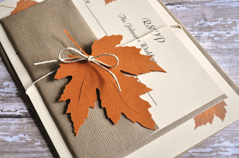 fall leaf wedding invitation