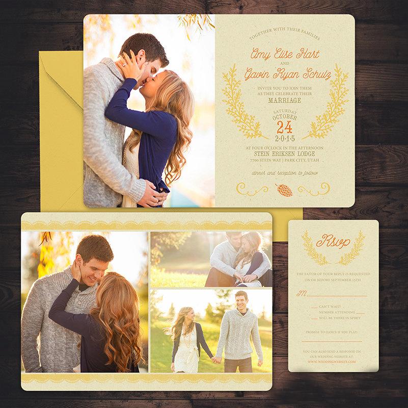 fall photo wedding invitations1