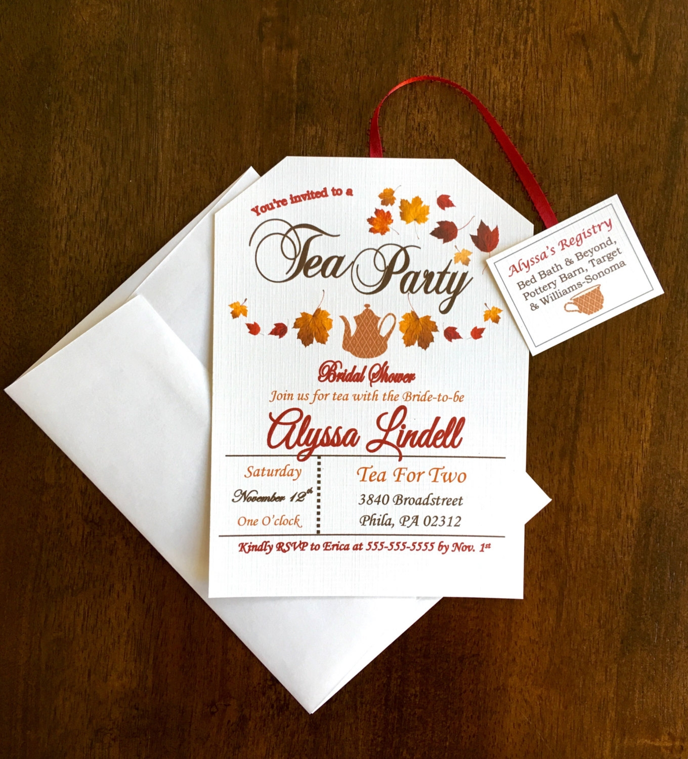 fall themed tea party invitation