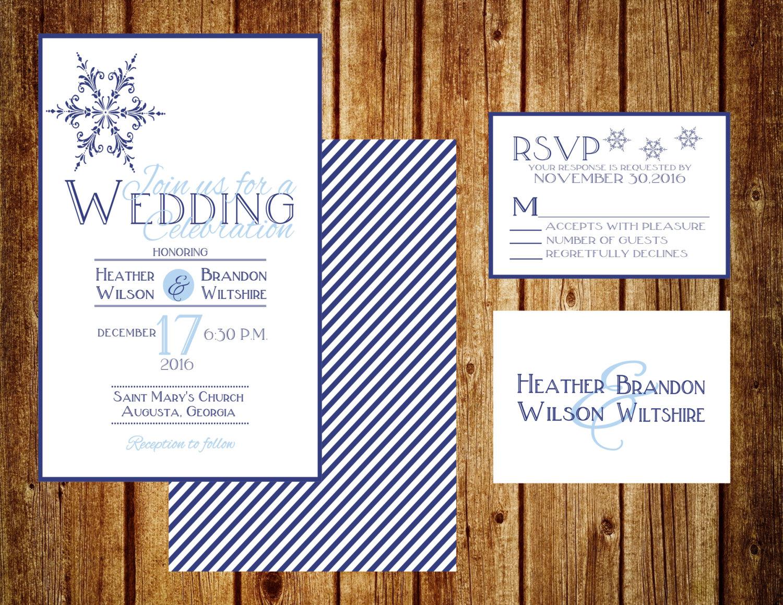 falling snow wedding invitation